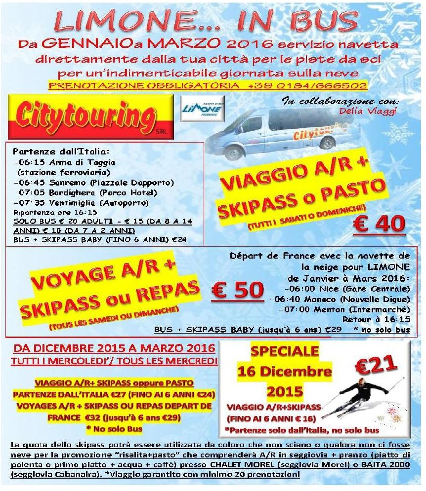 Navetta Limone Piemonte tutti i Mercoledì e weekend del mese di Dicembre - Gennaio - Febbraio - Marzo
